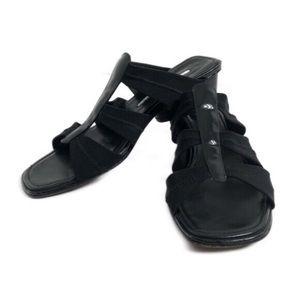Donald J. Pliner Block Heel Black Patent Shoe 8.5